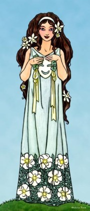 """Thalia"" by Thalia Took.  She is shown here with the comic mask of the Dionysian rites, and in Her hair are narcissuses and roses, both the variety called Thalia."