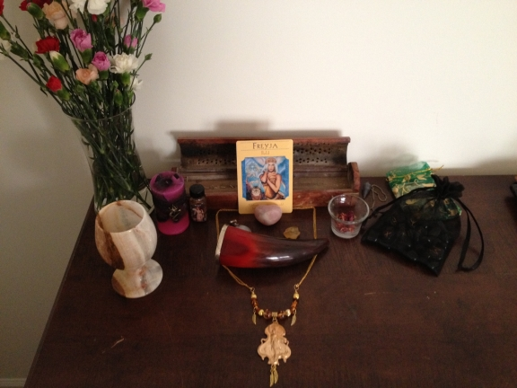 My personal altar to Freyja - a work in progress.