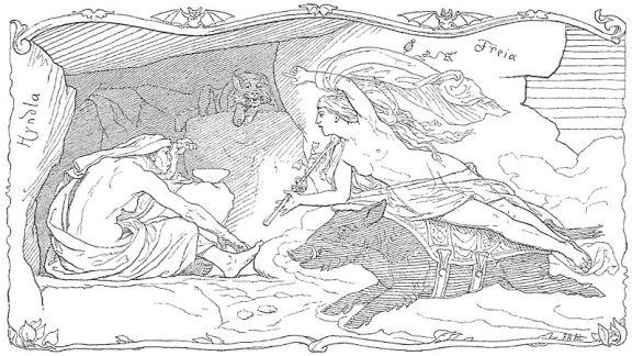 Freyja rides atop Hildisvíni to visit Hyndla (1895) by Lorenz Frølich.
